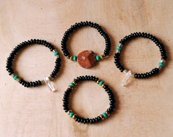 Jet Glass and Turquoise Bracelets