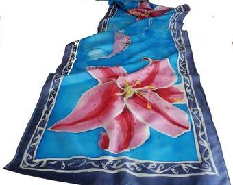 Hand-painted Silk Scarf - Stargazer Lily