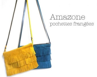 Yellow strap fringed pouch