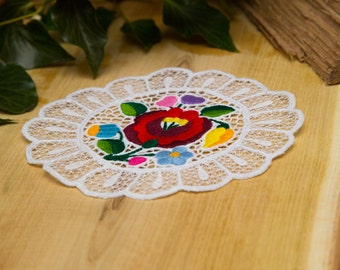 Hungarian embroidered Beautiful handmade embroidered doily from Kalocsa