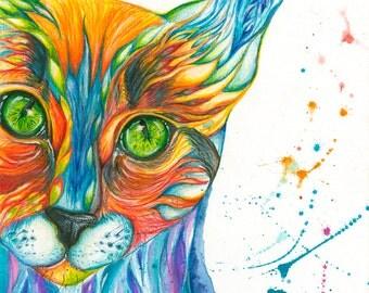 Cat watercolor art