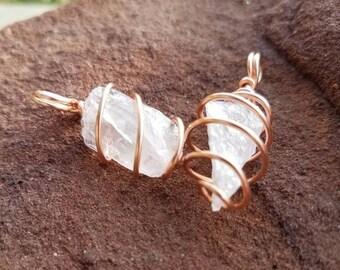 Rose Quartz Necklace, Rose Quartz Crystal, Rose Quartz Wire Wrapped Necklace, Wire Wrapped Jewelry, Crystal Jewelry, Crystal Healing
