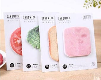Tasty Sandwich Sticky Notes ~ Food Memo Pads, DIY, Planner Notes, Decorative Sticky Notes, Food Stationery, Funny Post it, Sandwich Notes
