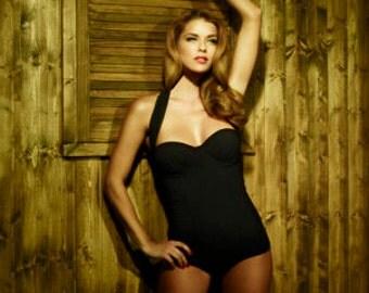 Hadley Smythe Black Chiffon Halter Marguerite Swimsuit