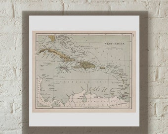 Map Of West Indies Antique  1892 Online Maps Printable Instant Download
