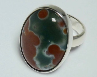 Poppy jasper cabochon 25 x 18 mm and silver 925 ring. Hand crafted jasper silver ring.