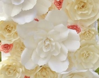 8ft by 8ft Paper Flower wall rental/ Quinceañera/wedding/baby shower/bridal shower(customized) In FLORIDA *ONLY*