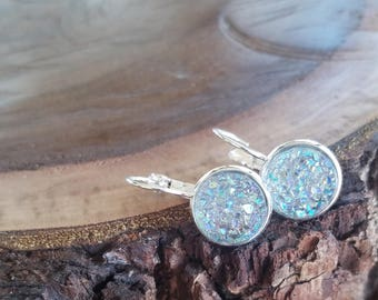 12mm Grey rainbow faux druzy lever back earrings, dangle earrings, statement earrings, nickel free, silver setting