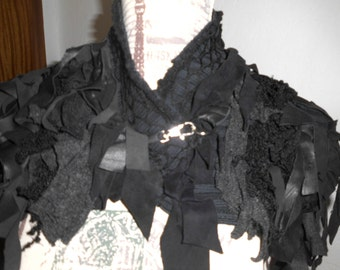 Scarf Cape black real leather unique handmade destroyed Gothic