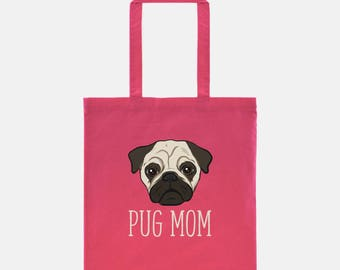 Pug Tote Bag | Pug Mom | Pug Gift | Cute Dog Tote | Dog Bag | Dog Lover Gift