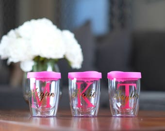 Wine Tumbler, Monogram Stemless Wine Glass, Monogram Wine Glass, Double Wall Wine Cup, Bachelorette Cup, Wine Tumbler