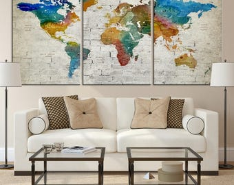 World map wall art world map push pin world travel map large wall art world map canvas print custom world map push pin wall art gumiabroncs Image collections