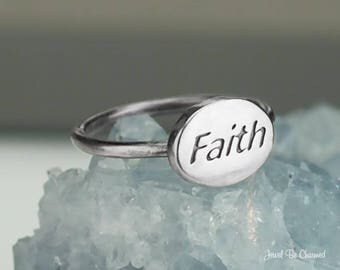 Sterling Silver Faith Ring Solid .925 Religious Faithful Custom Sizes