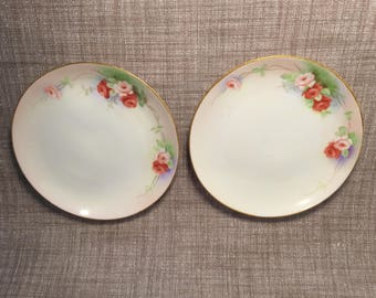 "2 Vintage Hand Painted 6.5"" Plates Red and Pink Roses - Marked Made in Japan"