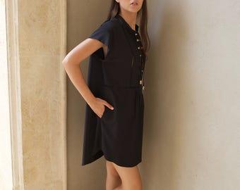 Black Oversize Caftan Dress, Bohemian Kaftan Loose Dress, Short Black Kaftan Dress, Loose Mini Dress, Black Tunic Dress, Womens Black Caftan