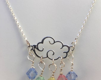 Sterling silver necklace, rainy cloud necklace, swarovski bicone necklace, gift for her