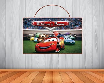 Personalized Disney CARS Sign, Cars Personalized Wooden Name Sign, Cars Room Decor, Cars  Birthday Gift, Cars Wall Art, Cars Birthday Sign