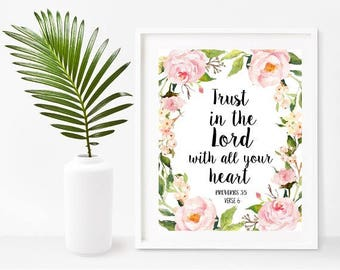 Bible Printable, Trust In The Lord, proverbs 3 5,   Bible Verse, Christian Wall Art, Instant Download, Home Decor, Wall Decor