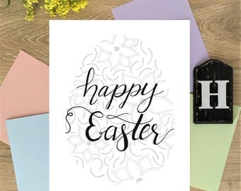 """Hand Lettered Calligraphy Print - """"Happy Easter"""""""