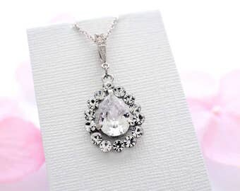 Bridesmaid jewelry, crystal teardrop necklace, cubic zirconia necklace, bridal necklace, bridesmaid necklace, zircon jewelry bridesmaid gift