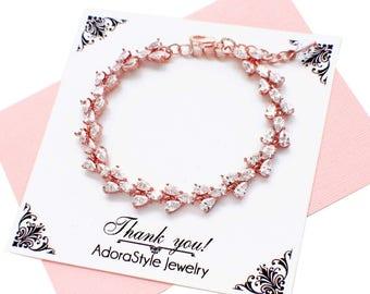 Rose gold wedding bracelet, CZ bracelet, crystal bridal bracelet, cubic zirconia bracelet, bridal jewelry, cz jewelry, for the bride