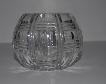 Spherical Glass bowl with rectangle and line pattern