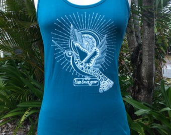 Women's 100% Organic Cotton Teal Singlet with White Design