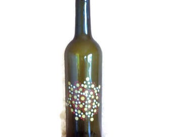 Upcycled glass bottle, Hand painted glass bottle