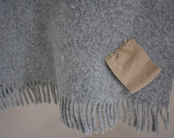 Pale Gray Merino Wool Throw Blanket