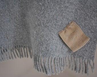 Pale Gray Merino Wool Throw Blanket