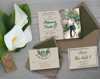 Rustic with picture wedding invitation set, lace, simple brown and green rustic invitation set