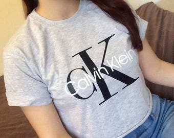 Calvin Klein CK Grey Unisex Short Sleeved Cropped Tee Crop Top T Shirt