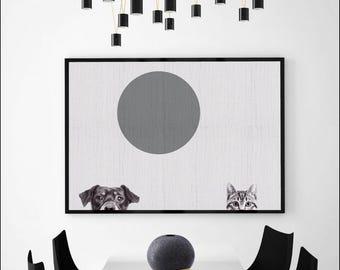 Animal print, horizontal wall art, horizontal print, printable, large wall art, digital downloadable art, cat and dog, cat print, dog print