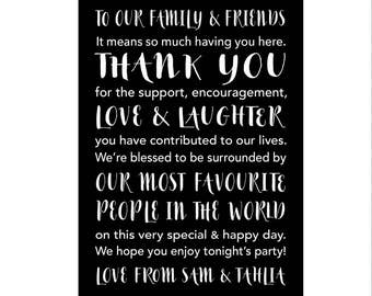 Reception - Thank You Card for Tables