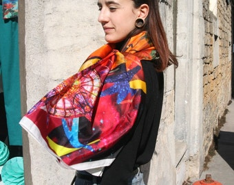 Scarf Predicta Temperance reason exclusive workshop Emilie Sauzet silk chiffon or silk chiffon