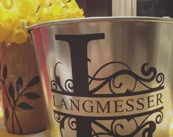 Galvanized Metal Bucket, Monogrammed Metal Bucket, Monogram Planter, Galvanized Bucket Planter, Last Name Planter, Last Name Bucket
