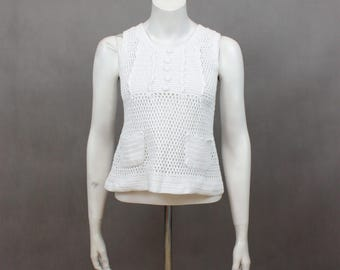 Festival Top - Summer Top - 80s - 80s Top - Hippie Shirt - Vintage Top - Retro Top - Sleeveless - Boho Top - Crochet Shirt - White Cotton