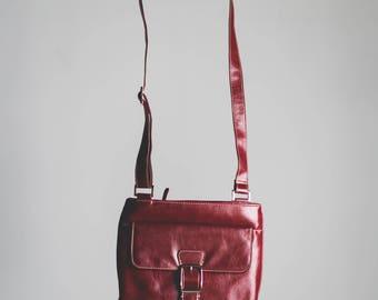 Dark red patent crossbody handbag by JFW // Burgundy // Buckle detail // cute // sassy