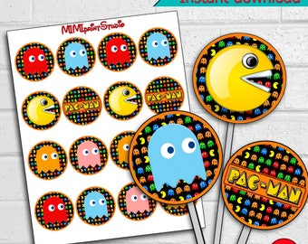 Cupcake Toppers,Decoration, Pacman Party Decor Cupcake Toppers,  Pacman Birthday Party, instant download
