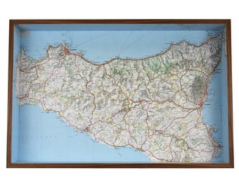 Sicily map box frame - framed map wall decor wall art gift shelf keys holder Sicilia