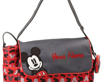 Personalized Disney Mickey Mouse Red and Black Baby Duffel Diaper Bag with Flap- 17 Inches