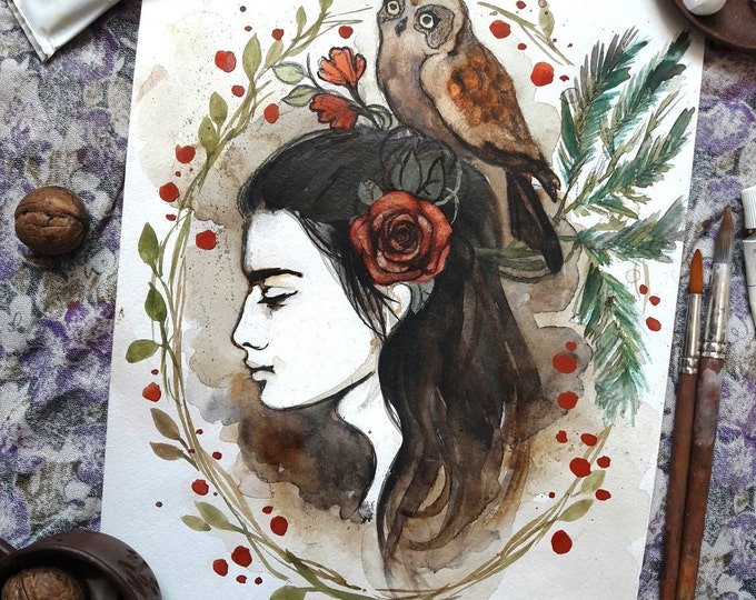 Girl with the Owl ORIGINAL waterolor paining, wall art, wall hanging, forest, wall decor, gift, Russian art by Tatiana Boiko girl painting