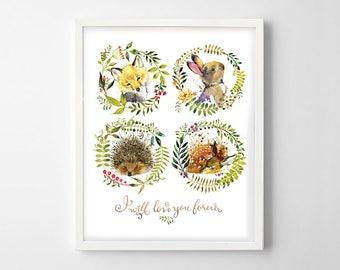 Animal Print for Nursery, Woodland Animals Print Watercolor Bunny, Fox, Deer, Hedgehog, Woodland Animals Kids Room Decor, Animal Print Decor
