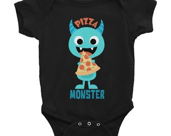 Boy's Monster Shirt - Pizza Monster Shirt - Pizza Monster Baby Outfit - Funny Boy's Shirt - Funny Baby Outfit for Boys - Blue