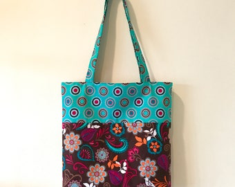 "Handmade tote bag, carry all bag for knitting project 14"" x 12.5"" x 2.5"" *Birds & Flowers Tote*"