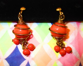 Vintage Orange Dangle Earrings