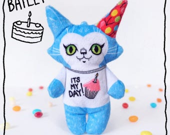 Birthday Bailey the cat- Illustrated doll made from soft minkie fabric - stuffed animal toy