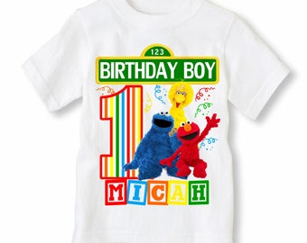 Sesame Street Shirt Personalized With Name and Age - Elmo, Big Bird, Cookie Monster Birthday Shirt