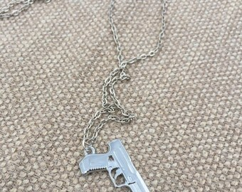 Silver Handgun Necklace