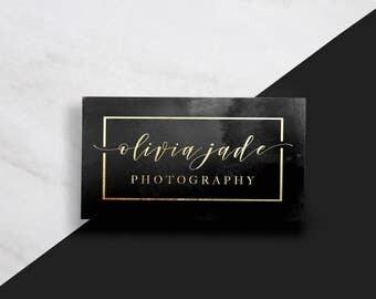 Modern Business Card // Gold Business Card // Black and Gold Business Card // Watercolor Business Card // Minimal Business Card // Gold Foil